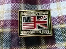 A LIMITED EDITION BARBOUR TEAM  / STEVE MCQUEEN 1964 MOTORCYCLE JACKET PIN BADGE