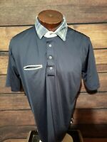 Alial Fital Mens XL Extra Large Blue White Short Sleeve Golf Polo Shirt