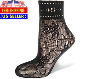 Girl Sheer Sexy Flower Stocking Transparent Mesh Black Lace Fishnet Ankle Socks