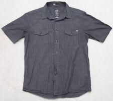 Billabong Gray Dress Shirt Short Sleeve Small Men Striped Cotton Two Pocket Man