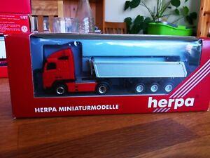 Herpa SZ Kippsiloauflieger 42m³  Kippsilo-SZ silber rotes Chassis