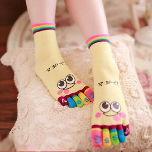 Cute Ladies Five-toed Socks Short Cotton Colorful Cartoon Smiling Face Pattern