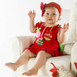 NEW Baby Kids Girls Sleeveless Christmas Red Dress SET Size 0
