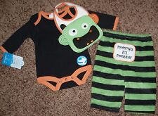 NWT infant HALLOWEEN SET boy 3-PC girl BODYSUIT monster BIB pants SZ 0-3 mths