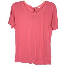 J Crew Womens Casual T Shirt Pink Silk Neck Trim Tie Back Small Short Sleeve Top
