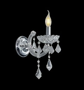 K9 Contemporary Crystal Candle ONE Wall Light Chrome/Gold available & BULB