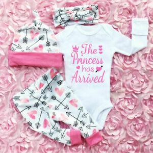 4PCS Newborn Infant Baby Girl Romper Jumpsuit Bodysuit Headband Clothes Outfits