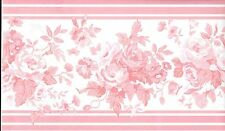Country Cottage Chic Pink Floral WALLPAPER BORDER