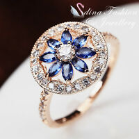 18K Rose Gold Plated Made With Swarovski Crystal Round Flower Sapphire Ring