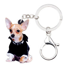 Acrylic Chihuahua Dog KeyChains Ring For Women Wallet Car key Holder Pet Jewelry