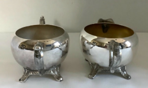 Vintage Silverplated Open Sugar Bowl and Creamer Set
