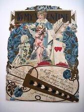 Large Elaborate Antique Valentine Card w/ Cupid & Blue Roses *