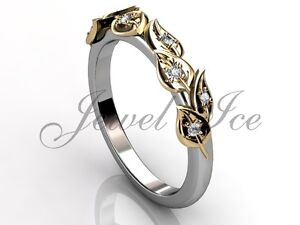 14k White and Yellow Gold Diamond Leaf and Vine Floral Wedding Band LB-2027-4
