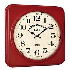 Kensington Square Wall Clock, Iron/MDF/Glass/Paper, Red/Cream Face