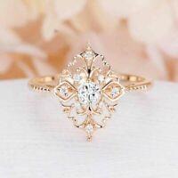 2 Ct Round Cut VVS1 Diamond Women Wedding Flower Shape Ring 14K Yellow Gold Over