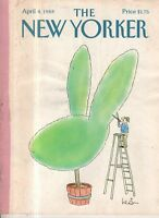 1988 New Yorker April 4 - Easter Rabbit Topiary by Levin
