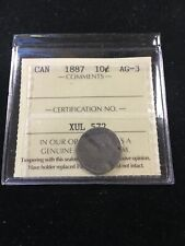 1887   ICCS  Graded Canadian,  ¢10  Cent, **AG-3 Date Filler**