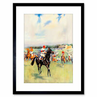 Painting Sport Racehorse Jockey Flat Field Stand Clouds UK Framed Print 9x7 Inch