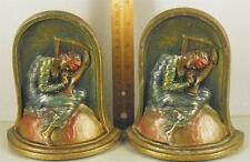 Antique Cast Iron Painted Polychrome Pair Bookends 'Lost Hope' Marked K&O
