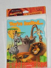 NEW~MADAGASCAR-ESCAPE 2 AFRICA  8-INVITATIONS WITH ENVELOPES PARTY SUPPLIES