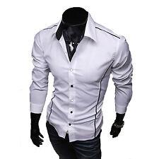 Moderno Hombre Corte Slim Vestido Camisas Negocios Oficina Formal Manga Larga