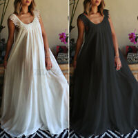 UK Women Casual Loose Sleeveless Flare Cocktail Party Lace Dress Long Maxi Plus