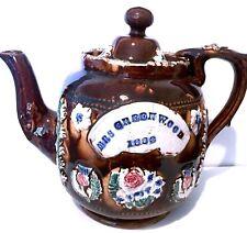 Genealogy: 1883 Mrs. Greenwood's Bargeware Sprigged Victorian Stoneware Teapot