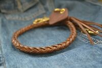 Handmade Braided Leather Chain Strap For Wallet Keyring Bikers