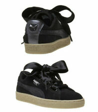 Puma Suede Heart Safari Womens Trainers Lace Up Black Leather 364083 03 X60B