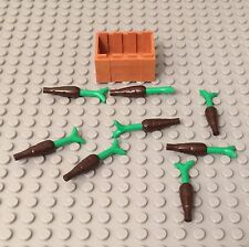 Lego X8 New Dark Brown Carrot Complete W/ Green Leaves Part And Crate Container
