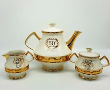 Vintage Gold Gilt Cream Lustre 50th Anniversary English Tea Service Set