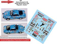DECALS 1/24 REF 429 ALPINE RENAULT A110 RAGNOTTI RALLYE MONTE CARLO 1976 RALLY