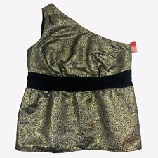 0279254c8d7 French Connection UK Style Womens 16 Top Metallic Gold Black One Shoulder  Party