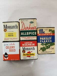Lot of 5 Vintage Spice Tins Durkee's, Monarch. Tone's, McCormick
