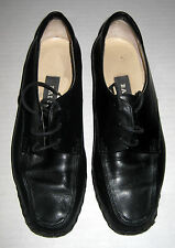 Vintage Ballys Black Leather Lace-Up Womens Wedge Shoe Italy Size 5M 5 M