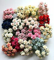 5 Mulberry Paper Flowers Open Roses 25mm With Wire Stem For Card Making Craft