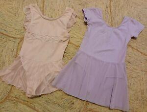 2 Girls Dance Ballet Leotards - Size (7/8) - Pink / Purple - NICE