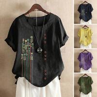 ZANZEA UK Women Short Sleeve O Neck Floral Printed Top Tunic Casual Shirt Blouse
