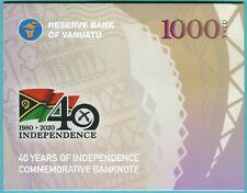Vanuatu 1000 Vatu 2020 UNC**New - Polymer / Commemorative 40th w/folder