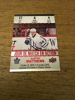 Auston Matthews Maple Leafs 2017-2018 UD Tim Hortons Game Day Action#GDA-4