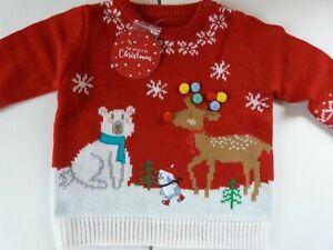 NEW RED Spirit of Christmas Fairisle Penguin Reindeer Jumper Size 12-24 Months