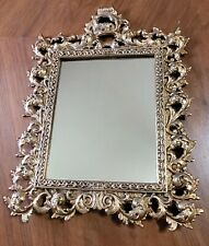 Antique Gold Gilded Metal Table Or Hanging Wall Mirror Victorian Picture Frame