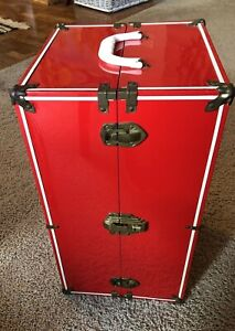 Vintage Metal Doll Carrying Case w/ Handle Red and White Trunk Steamer VERY NICE