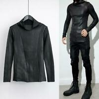 Men's Synthetic Leather Pullover Turtleneck Fur Lining Warmer Shirts Slim Tops