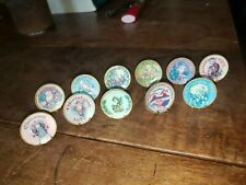 11 ELLEN KRUCKER BLAUER Miniature Dollhouse Christmas Plates w/Mini Plate Stands
