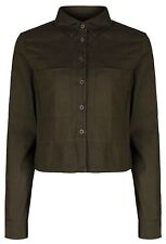 Ex Topshop Green Khaki Cropped Army Blouse Top Tunic Shirt Size 6 8 10 12 14