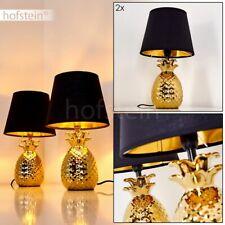 2er Set Wohn Schlaf Zimmer Leuchten Keramik gold Nacht Tisch Lese Lampen Stoff