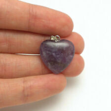 100% Natural Brazilian Amethyst Gemstone Heart Pendant 43-2 3.4 g or 17 cts