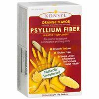 Konsyl Psyllium Fiber Powder Packets Smooth Texture Orange Flavor - 30 EA