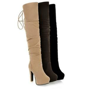 Sexy Women Faux Suede Platform High Heels Over The Knee Thigh Boots Riding Shoes